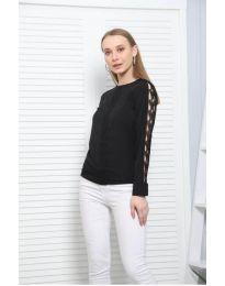 Ефектна дамска блуза в черно - код 0639