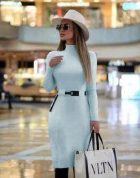Елегантна дамска рокля в светлосиньо - код 2932