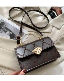 Елегантна дамска чанта в тъмно кафяво със златни детайли - код B159