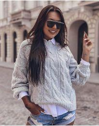 Дамски пуловер в светло сиво - код 8780