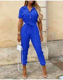 Стилен дамски гащеризон в цвят синьо - код 528