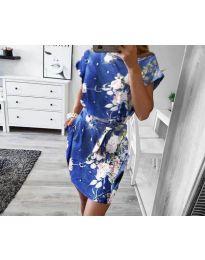 Дамска рокля в светло  синьо с флорални мотиви - код 1011