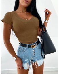 Изчистена дамска блуза в кафяво - код 756