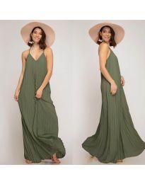 Свободна дълга рокля в маслено зелено - код 0508