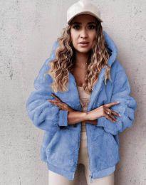 Пухкаво дамско палто в светлосиньо - код 5489