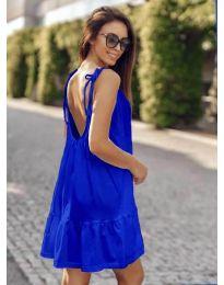 Дамска рокля с изрязан гръб в тъмно синьо - код 008