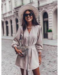 Дамска рокля с цип в сиво - код 820