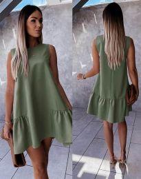 Свободна дамска рокля в масленозелено - код 3456