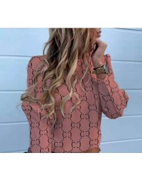 Елегантна дамска риза с ефектен десен в розово - код 780