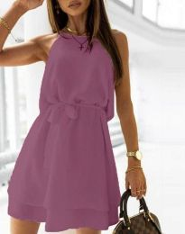Дамска рокля с колан в тъмнолилаво - код 9968