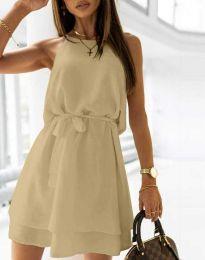 Дамска рокля с колан в бежово - код 9968