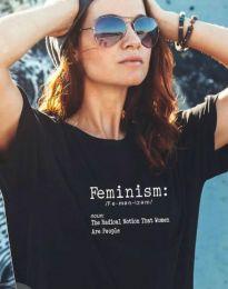 Дамска тениска с надпис в черно - код 0272
