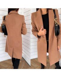 Свободно палто в  кафяво - код 7709