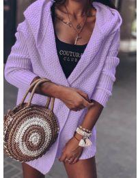 Къса плетена жилетка в светло  лилаво- код 7823