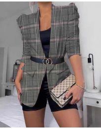 Дамско елегантно сако на каре в сиво и розово - код 680