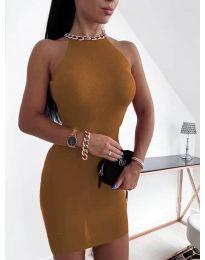 Дамска рокля в кафяво - код 9690