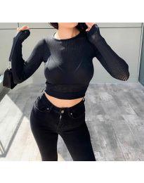 Изчистена дамска блуза в черно - код 8750