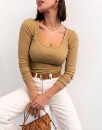 Изчистена блуза в цвят капучино - код 11662