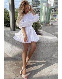Свободна дамска рокля в бяло - код 3386