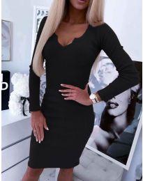 Вталена рокля с дълги ръкави в черно - код 235