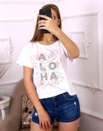 Дамска бяла тениска с атрактивен принт - код 3542
