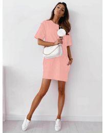 Изчистена рокля с джобове в розово - код 7236