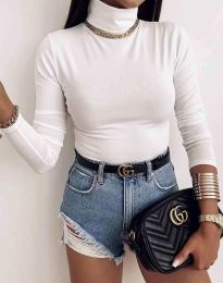 Дамска блуза с поло яка в бяло - код 0410