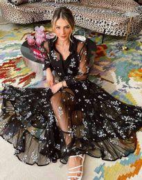 Дамска рокля в черно на цветя - код 3285