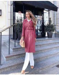Дамско палто с колан в бордо - код 213