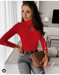 Дамска блуза с поло яка в червено - код 9917