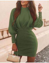 Дамска рокля в маслено зелено - код 4016