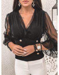 Блуза в черно с бухнали тюлени ръкави - код 604