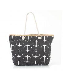 Плажна чанта в черно - код H-9026