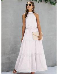 Свободна дълга рокля в бяло - код 8855