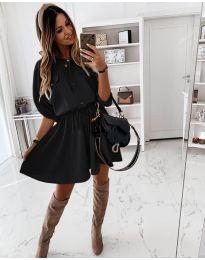 Свободна дамска рокля в черно - код 8586