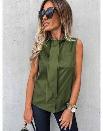 Елегантна дамска риза в маслено зелено - код 5531