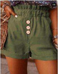 Къси панталонки в маслено зелено - код 9383