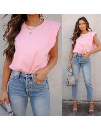 Изчистена дамска тениска в розово - 2324