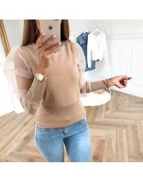 Блуза в бежово с тюлени дълги ръкави - код 3460