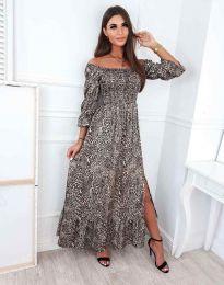 Дълга дамска рокля с атрактивен десен - код 6319 - 4