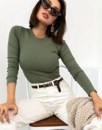 Изчистена дамска блуза в масленозелено - код 12119