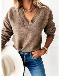 Дамски пуловер в кафяво - код 6012