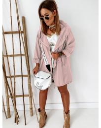 Свободно дамско яке в цвят пудра - код 8686
