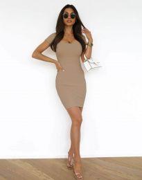 Дамска рокля по тялото в цвят капучино - 0988