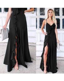 Дълга рокля с цепка в черно - код 4488