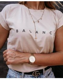 Бежова дамска тениска BALANCE - код 3618