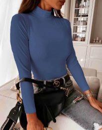 Дамска блуза с поло яка в тъмносиньо - код 6087