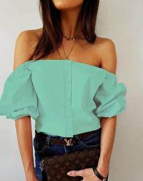 Екстравагантна дамска риза в цвят мента - код 3525