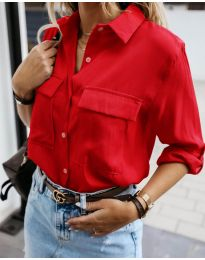 Изчистена дамска риза в червено - код 6148