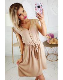 Лятна рокля с копчета в бежово - код 476
